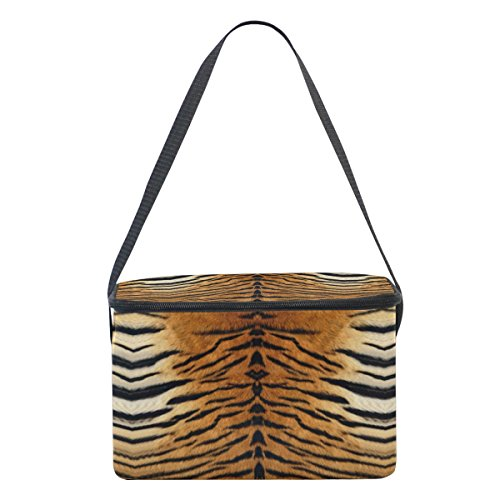 Naanle Animal Print Canvas Zipper Insulated Lunch Bag Cooler Tote Bag, Tiger Print Lunch Box Lunchbox Meal Prep Handbag for Adult Men Women Kids Girls Boys by Naanle