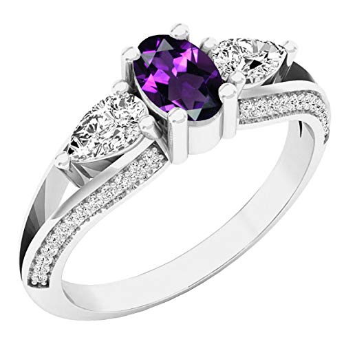 Dazzlingrock Collection 14K 6X4 MM Oval Amethyst, Pear White Sapphire & Round Diamond 3 Stone Ring, White Gold, Size 7 ()