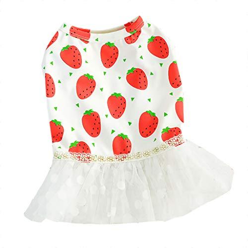 Tutu Dress Pet Dog Cat Clothes Strawberry Pattern Printed Gauze Patchwork Skirt Princess Dress (XL, White) -