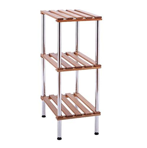Bathroom Storage Tower Free Standing - Slatted Shelves Organizer is Best For Office, Bedroom, Laundry Room Bundle w Floor Protector Pads (3 Shelf)