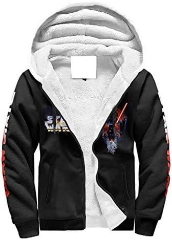 XJJ88 Fleece Hoodies Star Battle Invader Death Men Soft Large Full Zip-Up Hood White s