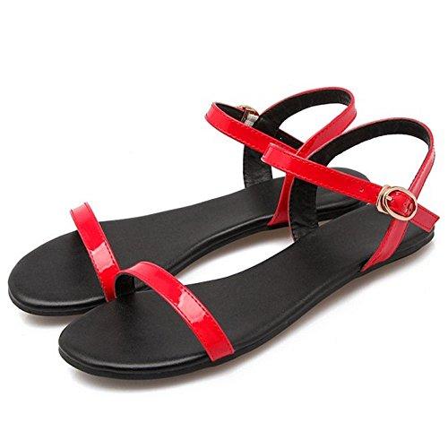 Red pour Bout TAOFFEN Plates Sandales Ouvert 2 Femmes qUYx1w