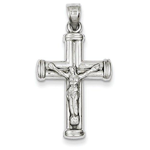 Or blanc 14 carats Pendentif croix-Dimensions :  34,4 x 18,6 mm-JewelryWeb
