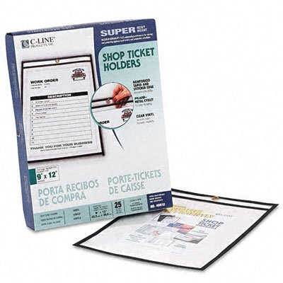 C-Line Shop Ticket Holders, Stitched, Both Sides Clear, 75 inch, 9 x 12, 25/BX ()