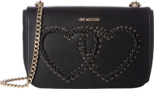 LOVE Moschino Women's Stitched Heart Shoulder Bag Black Handbag by Love Moschino
