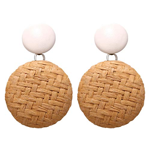 (Bokeley Women Rattan Shell Dangle Earrings - Handmade Straw Wicker Earrings Bohemian Earrings Beach Bridal Party Accessories (Yellow))