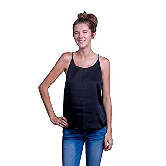 Sexy Silk-Like Camisole Tops for Women by Lace Republic, Silky Club Wear Spaghetti Strap Racerback Fashion Cami Tanks - Assorted Colors, Sizes XS, S, M, L, XL (17MG029) (Black) (X-Small)