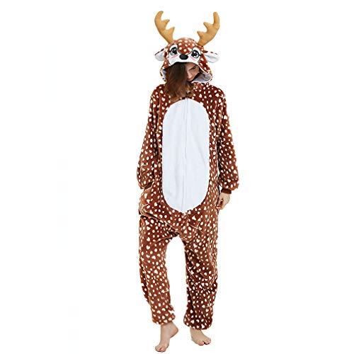 ANBOTA Reindeer Costume Deer Onesie for Adult Women Men Halloween Pajama, Deer, XL