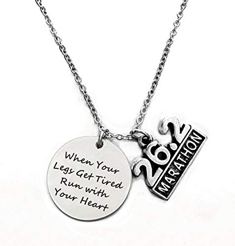 Running Gifts - When Your Legs Get Tired Run with Your Heart - Marathoner Pendant Necklaces with 26.2 Marathon Charm,Inspirational Runner Gift for Girls,Marathon Gifts (Marathon Necklace)