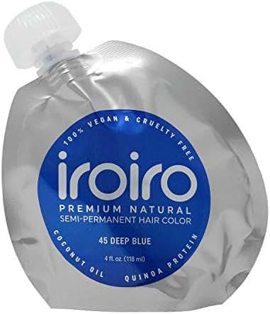 IROIRO Premium Natural Semi-Permanent Hair Color 45 Deep Blue (8oz)