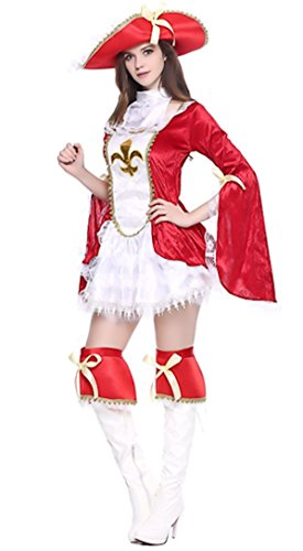 [Cohaco Women's Sea Captain Pirate Costume (Red Captain Style)] (Cute Costumes For Couples)