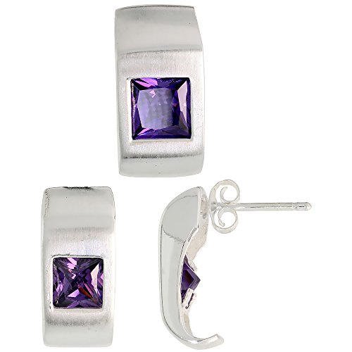Fancy Colored Stone Sets (Sterling Silver Matte-finish Fancy Earrings (16mm tall) & Pendant Slide (17mm tall) Set, w/ Princess Cut Amethyst-colored CZ Stones)