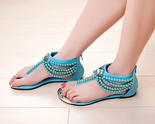 Mujer T-Correa Sandalias De Plana Bohemia Ornamento De Perlas Para Zapatos De Playa Celeste