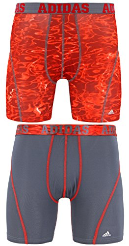 adidas Men's Sport Performance Climacool Boxer Briefs Underwear (2-Pack), Red Ponder Print/Onix | Onix/Scarlet, Large