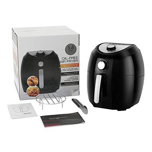 Air Fryer, 5.8 Quarts Air Fryers w/Accessories Cookbook, Grill Rack and Tongs Black by Fereol (Image #3)