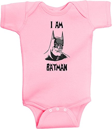 I Am Batman Funny Super Hero Onesie by BeeGeeTees® (12 Months, Pink) -