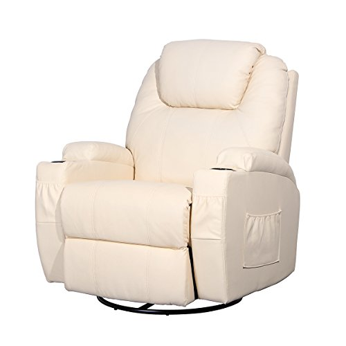 Esright Massage Recliner Chair Heated PU Leather Ergonomic Lounge 360 Degree Swivel (Cream) ()