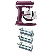 KitchenAid 4KP26M1XBY Professional 600 Series 6-Quart Bowl-Lift Stand Mixer, Boysenberry + KitchenAid KPRA Pasta Roller & Cutter Set Bundle