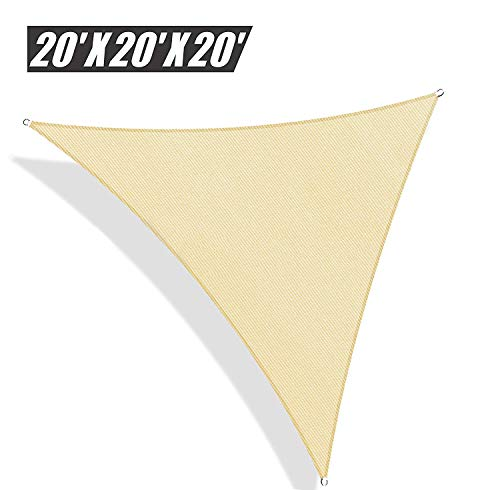 Do4U Oversized Triangle Garden Patio Shade Sun Sail UV Block Fabric with Steel D-Rings Triangle Sand 20x20x20ft, Sand