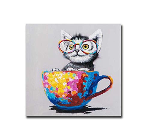 (ZYCH Oil Painting cat Coffee Cup Canvas Wall Art Modern Art Work Home Decoration Painting 20x24inch (50x60cm) )