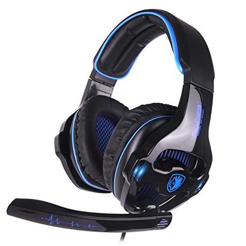 Auriculares estéreo SADES SA810GT para juegos para Xbox One / PS4 / PC Auriculares con cancelación de ruido sobre el oído con micrófono, luz LED y conector de 3,5 mm y sonido envolvente de graves y control de volumen y almohadillas suaves