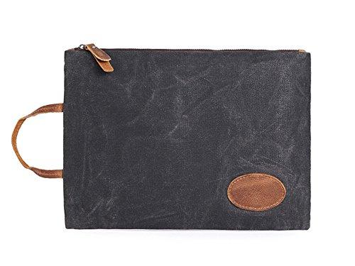 BAO Bolso ocasional de la lona de la cartera del embrague de los hombres grandes impermeables de la lona, Green black