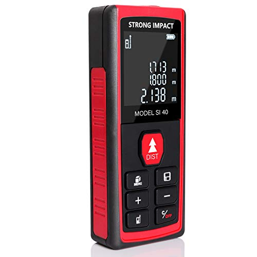 Laser measurement tool Strong Impact: high precision portable digital distance measure LCD screen; for indoor outdoor 131ft/40m range with area, volume, Pythagorean calculations, class 2 laser, 1mw