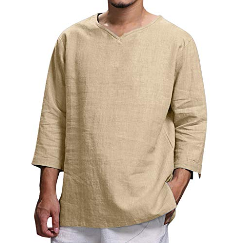 Men Linen Shirt,2019 New Plus Size Summer Loose 3/4 Sleeve Hippie Casual Fashion Pullover Yoga Tops Blouse (Asian Size:XXXL, Khaki)