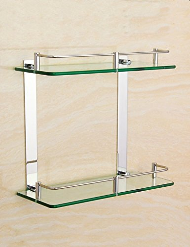 DIDIDD Shelf-Extremely Firm Shower Shelf Fashion Glass Shelf Stainless Steel Mirror Front Frame Bathroom Double Store Shelves Square Makeup Frame Ensuring Quality,45Cm by DIDIDD