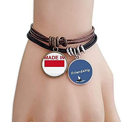 YMNW Made Indonesia Country Love Friendship Bracelet Leather Rope Wristband Couple Set Estimated Price -