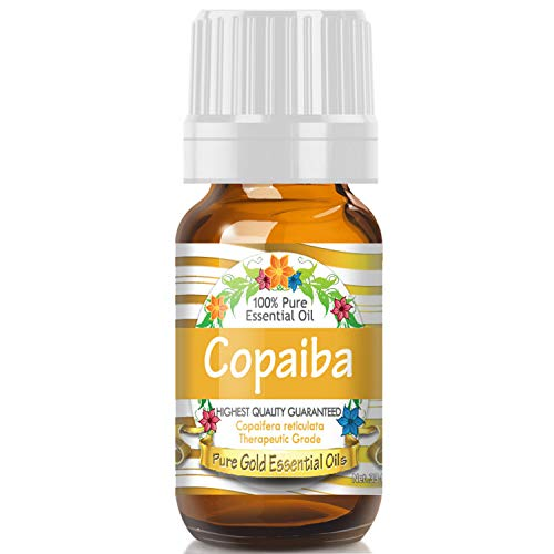 Copaiba Essential Oil (100% Pure, Natural, UNDILUTED) 10ml - Best Therapeutic Grade - Perfect for Your Aromatherapy Diffuser, Relaxation, More!