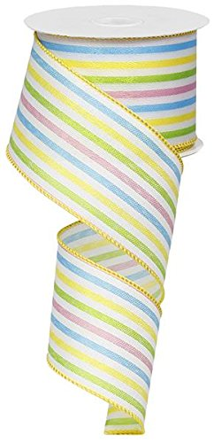 Spring Easter Stripe Wired Edge Ribbon | Pink Lime Yellow White Blue (2.5 Inches x 10 Yards) : RG01101H5 ()