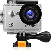 CRAPHY W9SE Action Camera 4K WiFi Ultra HD Waterproof Sport Camera Kit 2 Inch LCD Screen 140 Degree Wide Angle 12MP with Rechargeable Batteries, Silver