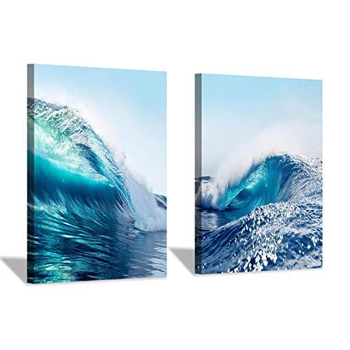 Wave Canvas Wall Art Print: Ocean & Sea Picture Decor Artwork for Bath Rooms(16''x12''x2pcs)