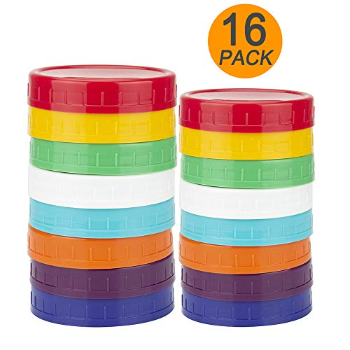 16 Pack Colored Plastic Mason Jar Lids - 8 Wide Mouth & 8 Regular Mouth Ball Mason Lids by WISH
