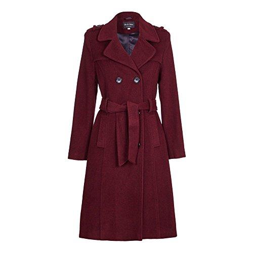 De la Crème - Womens Wool Blend Belted Long Tweed Trench Coat, Burgundy, Size 8 ()