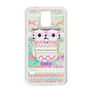 JFLIFE Cute Tribal Owl Phone Case for samsung galaxy s5 White Shell Phone [Pattern-3] by runtopwell