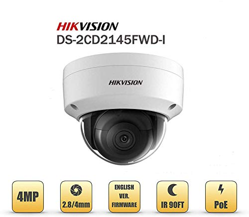 Hikvision 4MP IP Camera DS-2CD2145FWD-I 2.8mm, PoE Dome Camera with Smart H.265+ WDR, SD Card Slot, ONVIF, IP67 IK10