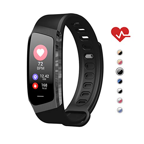 AOE Fitness Tracker, Activity Tracker Health Exercise Band with Heart Rate and Blood Pressure, Waterproof Smart Watch with Step, Calorie, Sleep Monitor, SMS Call Pedometer, Best for Kids Women Men]()