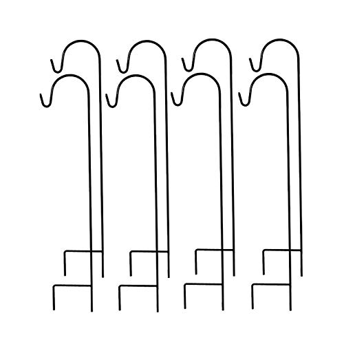 MTB Shepherd Hook 35 Inch by 9.5 Inch, Black, Pack of 8,Strong Rust Resistant Steel for Hanging Planter, Bird Feeders, Lanterns, Solar Lights, Mason Jars,Hummingbird Feeder Hanger,Shepherds Hook