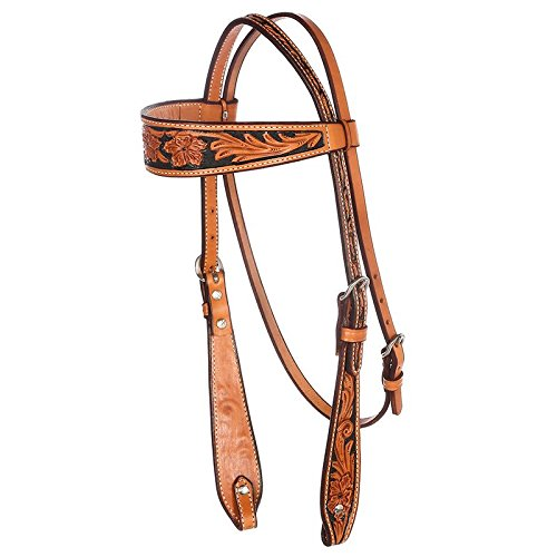 (NRS Tooled Browband Headstall w/Painted Black Background)
