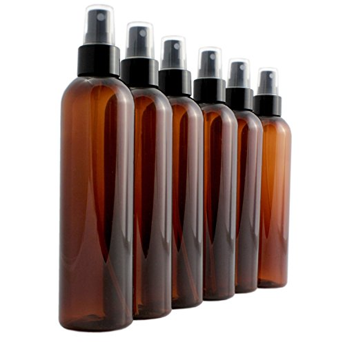8oz Amber Brown Empty Plastic PET Spray Bottles with Fine Mist Atomizer Caps (6-pack); for DIY Home Cleaning, Aromatherapy, & Beauty Care -