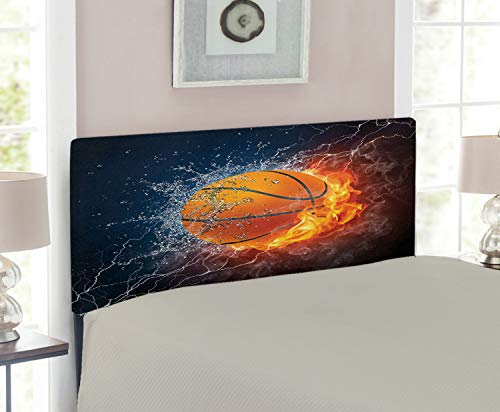 Lunarable Sports Headboard, Basketball Ball on Fire and Water Flame Splashing Thunder Lightning, Upholstered Decorative Metal Headboard with Memory Foam, for Twin Size Bed, Dark Blue Orange Burgundy