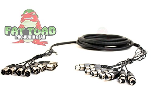 XLR Snake Cable Patch (8 Channels) by Fat Toad|Studio, Stage, Live Sound Recording Multicore Cords|Pro Audio Shielded Balanced Double-Sided Microphone Cables for DJ Digital Mixers or Amplifiers|10 ft 8 Channel Xlr Snake