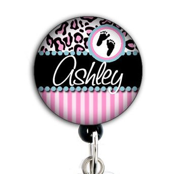 Striped Baby Feet Pink - Custom / Personalized Name - Retracable Badge Reel