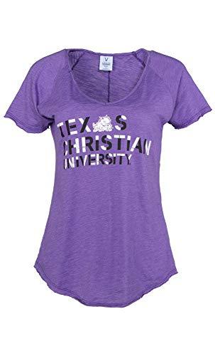 Official NCAA Texas Christian University Horned Frogs TCU Horned Frog FROGS FIGHT! Women's Slub V-Neck T-Shirt