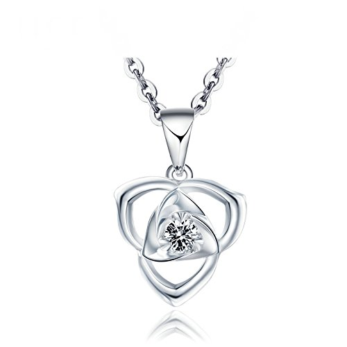 Daesar 18K White Gold Necklace For Women Hollow Flowers Necklace Cubic Zirconia Pendant White by Daesar