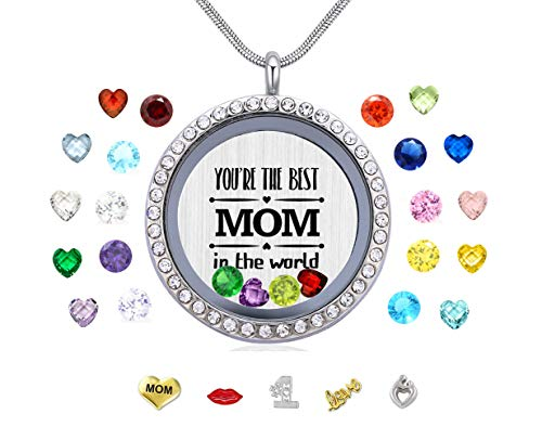 Vinncy Gift for Mother Mom, You are The Best Mom in The World Living Memory Round Floating Locket Snake Chain Necklace Pendant for Women -