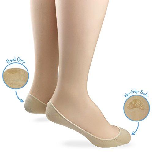 Jefferies Socks Girls No Show Anti Slip Silicone Low Cut Seamless Liner Footie Socks 4 Pair Pack