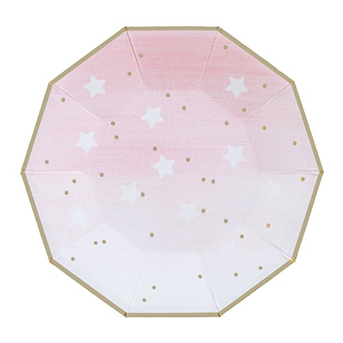 Fire and Creme Stars Foiled Party Paper Plates Gold White Pink Ombre- Pack of 8 ()